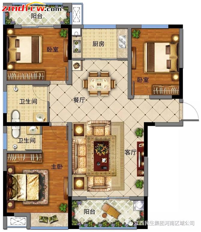 P户型平面图,建筑面积约121.25㎡