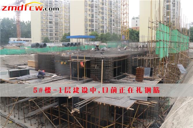 5#正在扎钢筋搭建模板,-1层建设中