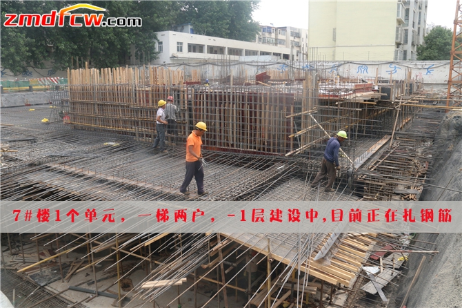 7#楼正在扎钢筋搭建模板
