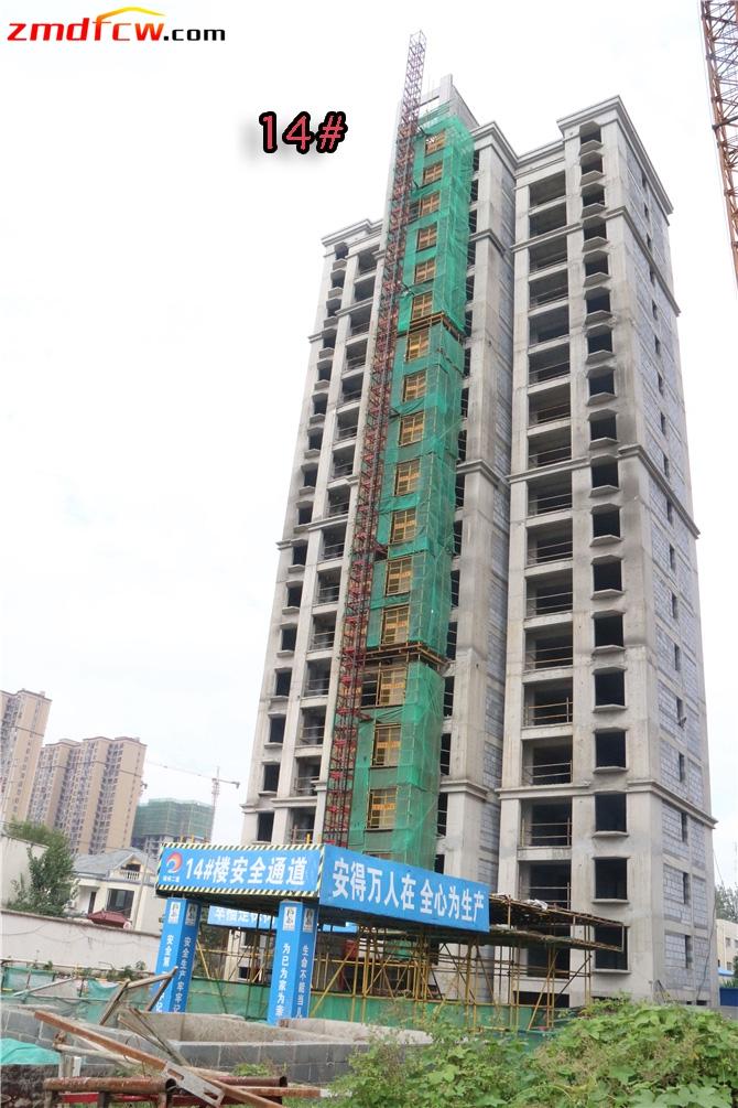 14#楼已封顶,正在外粉、验收;
